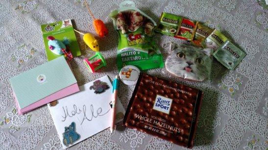 También me llegó por correo el swap felino en que el me inscribí y consistía en enviar regalitos para la dueña y sus gatitos.